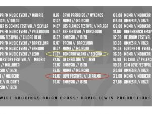 BRIAN CROSS volverá a Tomorrowland Bélgica, el mejor evento de DJs del mundo, días antes de poner el broche al Love Music Festival en La Palma