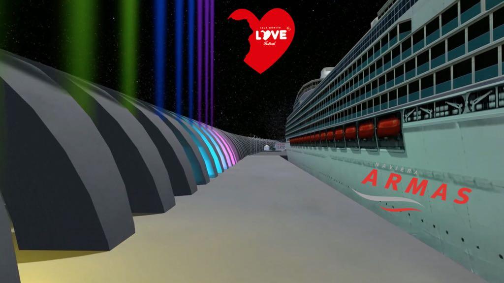 Imagen virtual Naviera Armas en el puerto bagañete
